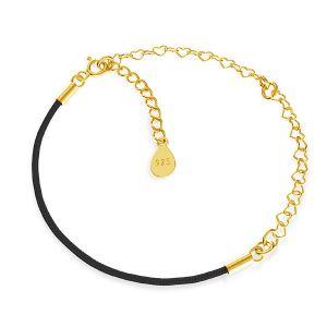 Czarny sznurek i łańcuszek serce, baza do bransoletek z dwoma blaszkami, srebro 925, S-BRACELET 16