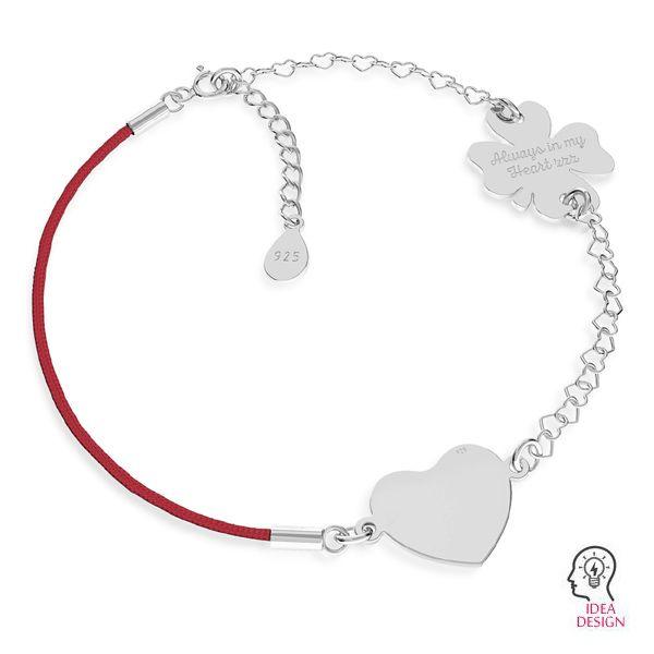 Czerwony sznurek i łańcuszek serce, baza do bransoletek z dwoma blaszkami, srebro 925, S-BRACELET 16 (RED)