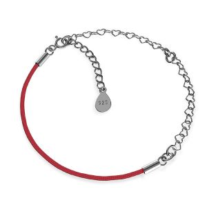 Czerwony sznurek i łańcuszek serce, baza do bransoletek z dwoma blaszkami, srebro 925, S-BRACELET 16