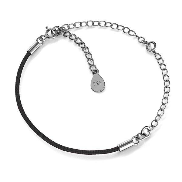 Czarny sznurek i łańcuszek, baza do bransoletek z dwoma blaszkami, srebro 925, S-BRACELET 17 (BLACK)