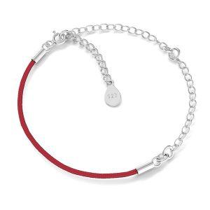 Czerwony sznurek i łańcuszek anker, baza do bransoletek z dwoma blaszkami, srebro 925, S-BRACELET 17 (RED)