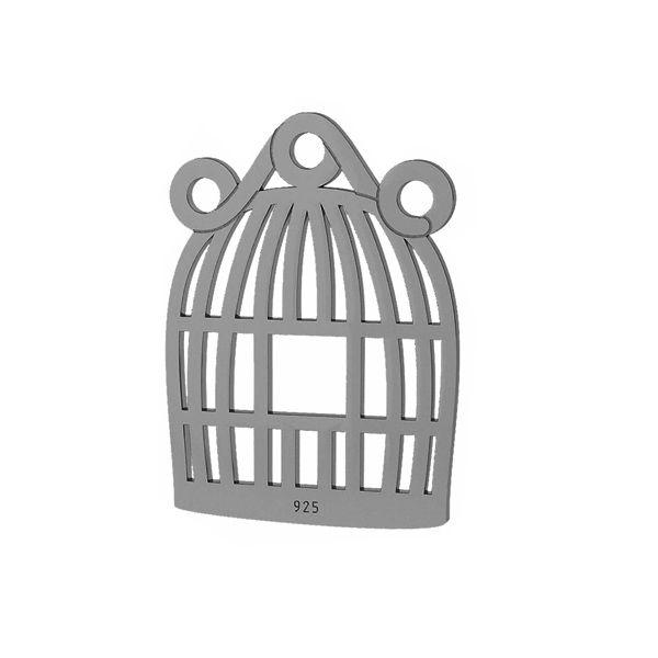 Klatka dla ptaka zawieszka łącznik, srebro próby 925, LKM-2094 - 0,50
