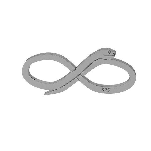 Wąż znak nieskończoności zawieszka łącznik, srebro próby 925, LKM-2110 - 0,50