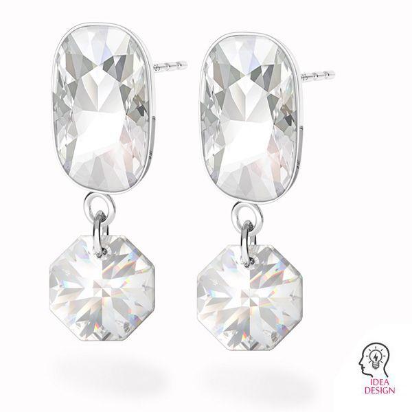 Srebrne kolczyki sztyfty baza do prostokątnych kryształów Cushion Fancy Stone, OKSV 4568 MM 14,0X 10,0 KLS CON 1
