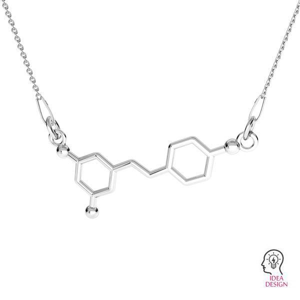 Resveratrol zawieszka wzór chemiczny łącznik, srebro 925, ODL-00500