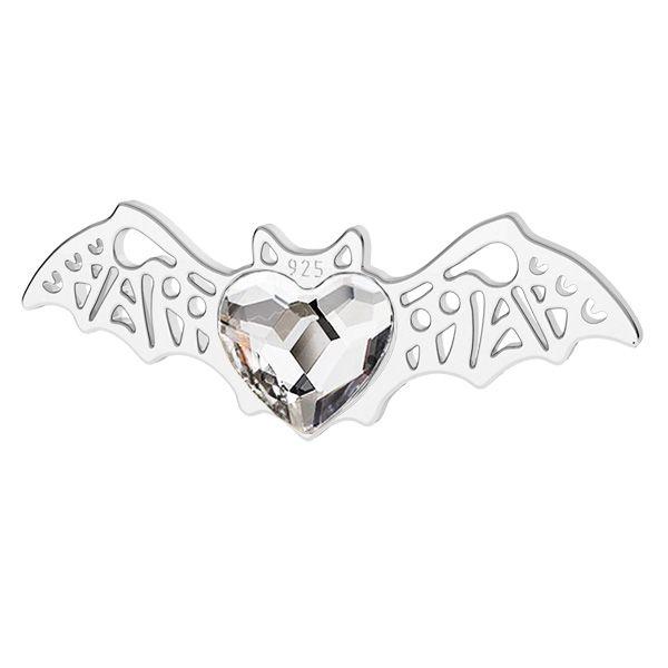 Nietoperz zawieszka z kryształem Swarovski serce, srebro próby 925, LK-1562 - 0,50 ver.2