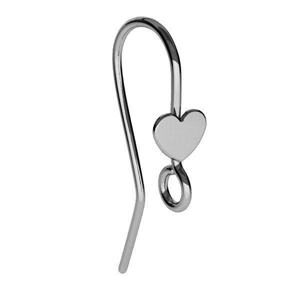Bigiel otwarty z sercem, ze srebra 925, BO 61 ver.2