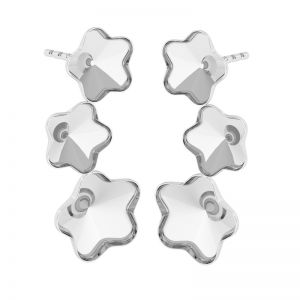 Srebrne kolczyki baza do kryształów Swarovski kwiatek, FKSV 4744 KLS 1