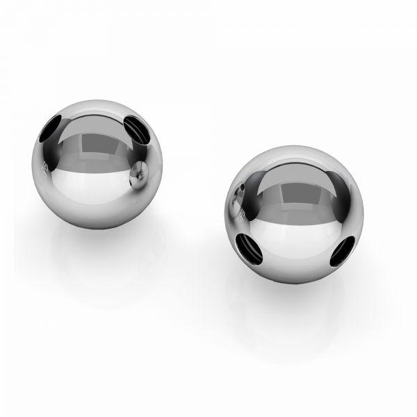 P2CH  8,0 F:1,5 - Srebrne kulki 8 mm z otworami ukośnie, srebro próby 925