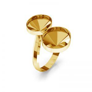 Srebrny podwójny pierścionek baza do Swarovskiego Rivoli Rivoli Owal, OKSV 4122 MM 14,0 DOUBLE RING
