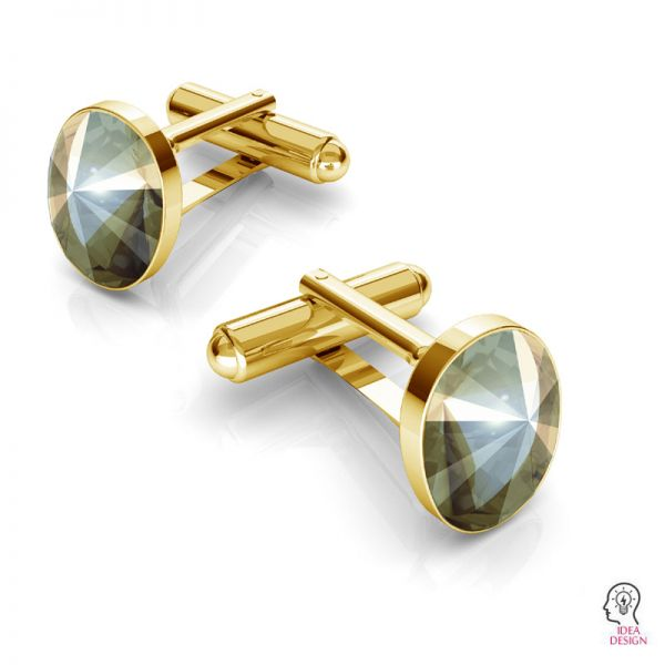 Srebrne spinki do mankietu baza do Swarovskiego Rivoli owal, OKSV 4122 MM 14,0 CUFFLINK