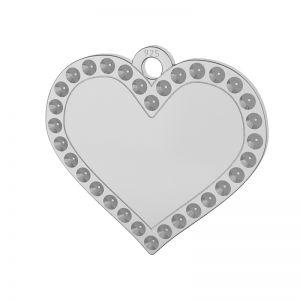Zawieszka serce, baza do wklejania kryształów Swarovski, srebro 925, LKM-2139 - 0,80 (1028 PP 4)
