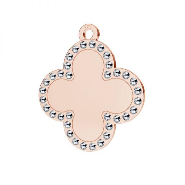 Zawieszka koniczyna, kwiatek wysadzana kryształami Swarovskiego, srebro 925, LKM-2134 - 0,80 ver.2