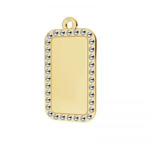 Zawieszka prostokat, nieśmiertelnik z kryształami Swarovskiego, srebro 925, LKM-2140 - 0,80 ver.2
