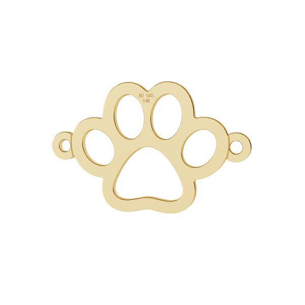 Złota zawieszka łącznik ażurowa - odcisk łapy psa