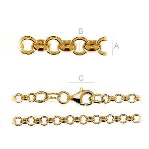 Rodowany lub zlocony łańcuszek typu Rolo z zamkiem