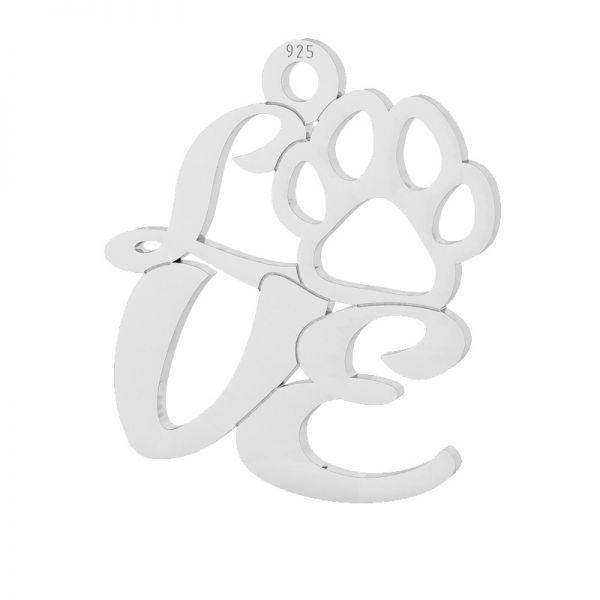 Zawieszka psia łapa LOVE, srebro 925, LKM-2126 - 0,50