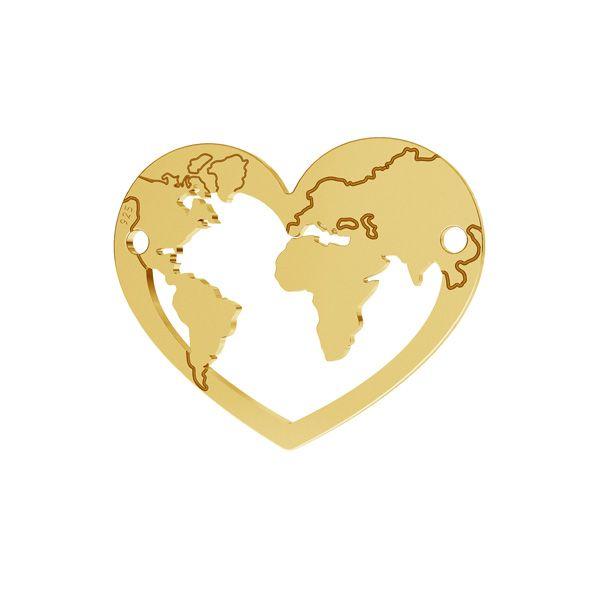 Blaszka serce mapa świata zawieszka, srebro próby 925, LK-2073