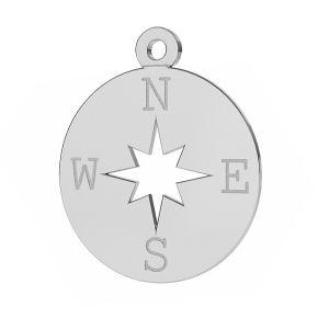 Kompas róża wiatrów zawieszka ze srebra próby 925, LKM-2015