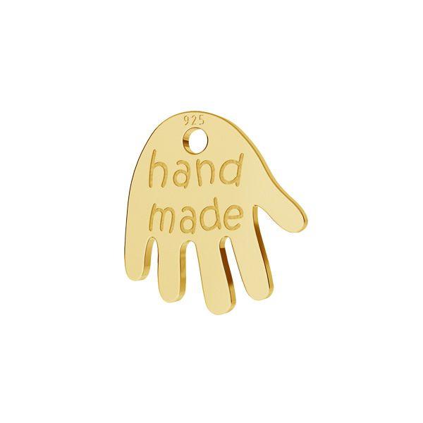 Blaszka wykończeniowa ręka z napisem hand made*srebro AG 925*LKM-2164 - 0,50 9x9,6 mm
