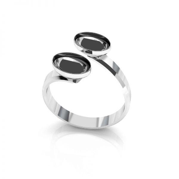 Srebrny podwójny pierścionek baza do Swarovskiego Rivoli Rivoli Owal, OKSV 4122 MM  8,00 DOUBLE RING