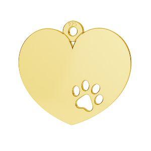 Zawieszka - serce z psią łapą*srebro AG 925*LKM-2295 - 0,50 14x15,5 mm