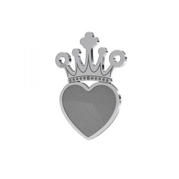 Zawieszka łącznik - korona serce - baza do Heart Flat Back*srebro AG 925*LKM-2331 - 0,50 13x18 mm (2808 MM 10)