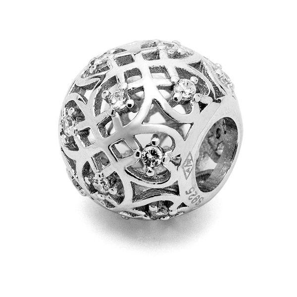 Przekładka ozdobna - z cyrkoniami*srebro AG 925*BDS-00003 4,85x9,3 mm