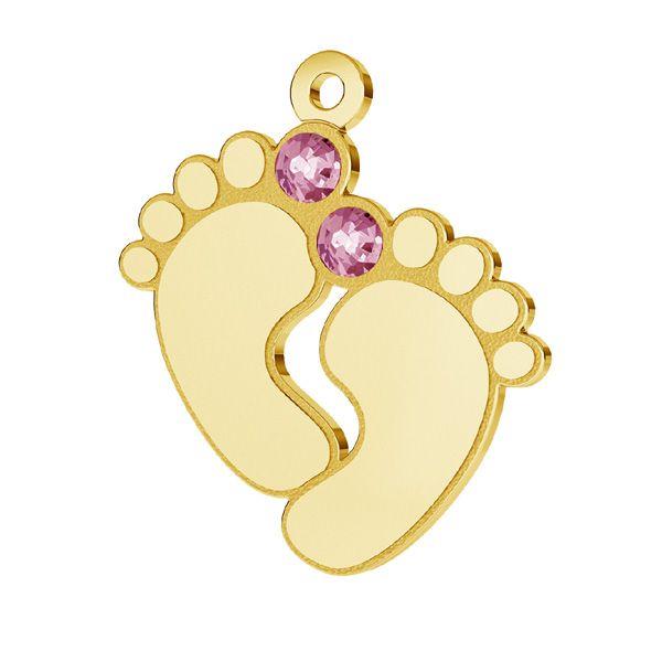 Zawieszka - stópki dziecka z różowymi kryształami Swarovskiego*srebro AG 925*LK-0481 - 0,50 16x21 mm ver.2