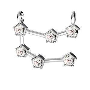 Zawieszka łącznik - znak zodiaku - bliźnięta z kryształami Swarovskiego*srebro AG 925*CON 2 ODL-00650 15x19 mm