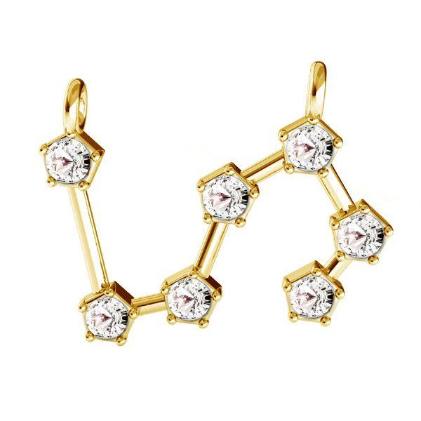 Zawieszka łącznik - znak zodiaku - lew z kryształami Swarovskiego*srebro AG 925*CON 2 ODL-00653 15,5x19,3 mm