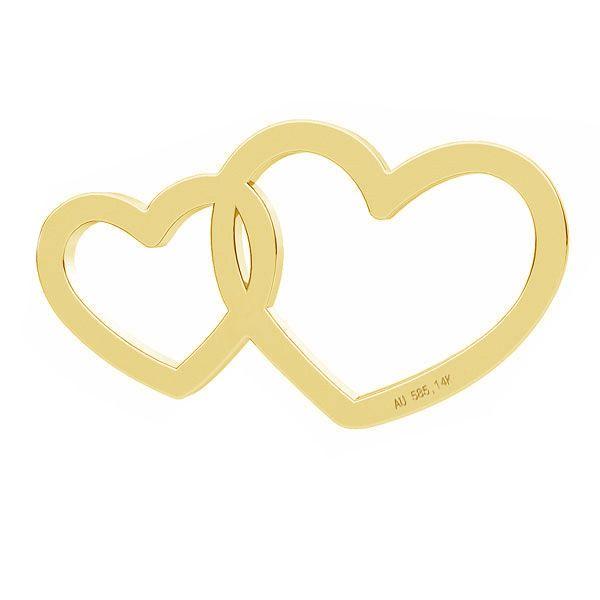 Zawieszka łącznik ażurowy - dwa serca*złoto AU 585*LKZ-50014 - 0,30 6x10,5 mm