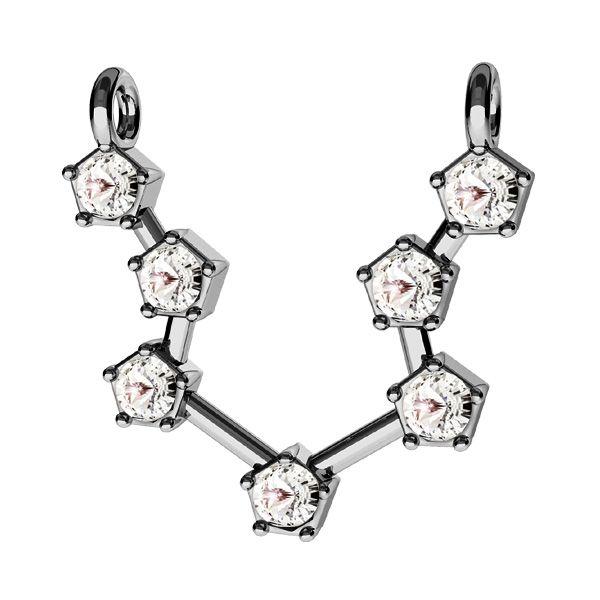 Zawieszka łącznik - znak zodiaku - wodnik z kryształami Swarovskiego*srebro AG 925*CON 2 ODL-00637 15x19,5 mm