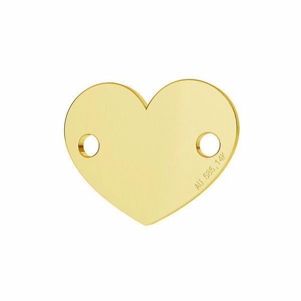 Złota zawieszka łącznik - serce*złoto AU 585*LKZ-00462 - 0,30 10x12 mm