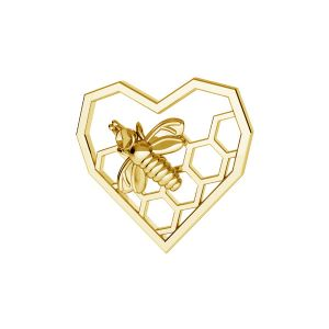 Zawieszka - serce plaster miodu pszczoła*srebro AG 925*CON 1 ODL-00671 13,9x15 mm