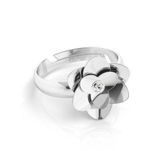 Pierścionek uniwersalny - róża z kryształem Swarovskiego - CRYSTAL*srebro AG 925*U-RING ODL-00041