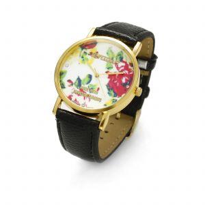 Czarny zegarek z kwiatkami, MODEL 464