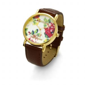 Brązowy zegarek z kwiatkami, MODEL 464