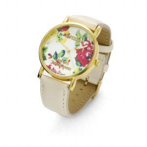 Kremowy zegarek z kwiatkami, MODEL 464