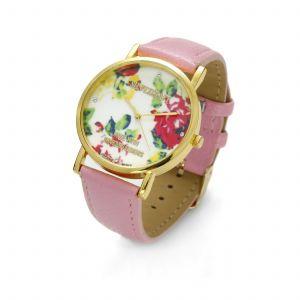 Różowy zegarek z kwiatkami, MODEL 464