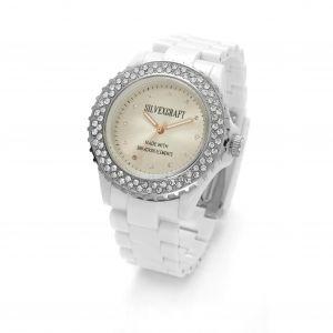 Biały zegarek z kryształami Swarovskiego, MODEL 443