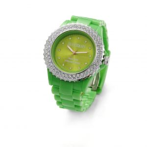 Zielony zegarek z kryształami Swarovskiego, MODEL 443