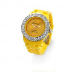 Żółty zegarek z kryształami Swarovskiego, MODEL 443
