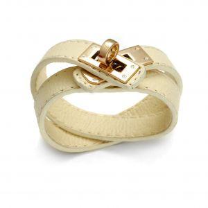 Kremowa bransoletka z rzemienia - Hermes, MODEL 338