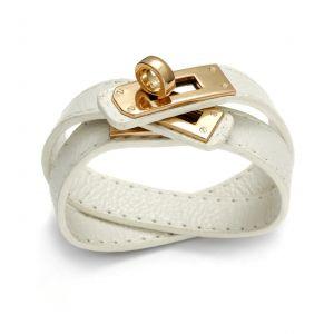 Biała bransoletka z rzemienia - Hermes, MODEL 338