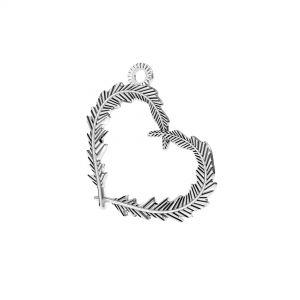 Zawieszka - serce z piór*srebro AG 925*ODL-00723 18,6x22 mm