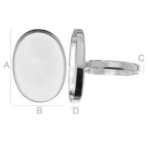 Pierścionek XL - miseczka owalna do żywicy*srebro AG 925*RING FMG 18x25 mm (4XL)