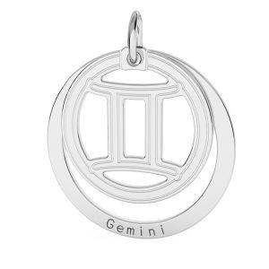 Zawieszka z kółkiem - znak zodiaku - bliźnięta*srebro AG 925*LKM-2585 - 0,50 18x22 mm