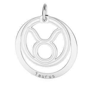 Zawieszka z kółkiem - znak zodiaku - byk*srebro AG 925*LKM-2586 - 0,50 18x22 mm