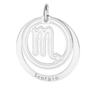 Zawieszka z kółkiem - znak zodiaku - skorpion*srebro AG 925*LKM-2592 - 0,50 18x22 mm